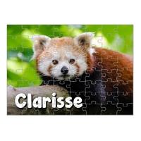 Puzzle Panda roux personnalisé avec prénom 35,70 ou 96 pièces