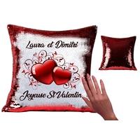 Coussin magique en sequin brillant Amour St Valentin personnalisé avec prénom