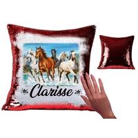 Coussin magique en sequin brillant Cheval chevaux personnalisé avec prénom