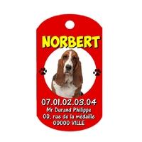 Médaille Chien Basset hound personnalisée avec nom adresse et téléphone