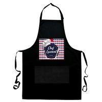 Tablier de cuisine noir Chef Toque personnalisé avec prénom