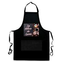 Tablier de cuisine noir Les délices de... personnalisé avec prénom