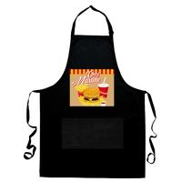 Tablier de cuisine noir Fast food Frite Hamburger personnalisé avec prénom