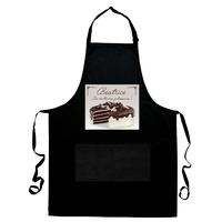 Tablier de cuisine noir Gâteau pâtisserie personnalisé avec prénom