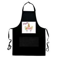 Tablier de cuisine noir Licorne personnalisé avec prénom