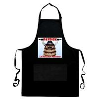Tablier de cuisine noir Le meilleur pâtissier personnalisé avec prénom