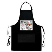 Tablier de cuisine noir Chef personnalisé avec prénom et spécialité