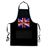 Tablier de cuisine noir Anglais personnalisé avec prénom
