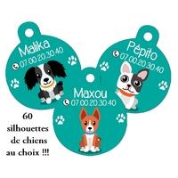 * Nouveau* Médaille ronde pour chien personnalisée avec nom et n° de téléphone