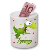 Tirelire céramique Dino rigolo Dinosaure personnalisée avec prénom