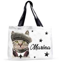 Grand sac cabas Chat Chaton Cat personnalisé avec prénom