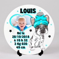 Assiette bébé personnalisée Naissance avec votre photo, prénom, date ....