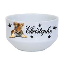 Bol à petit déjeuner Bébé Tigre personnalisé avec prénom au choix
