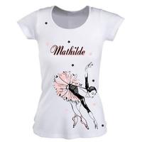 Tee shirt femme Danse danseuse personnalisé avec prénom
