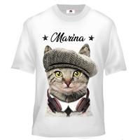 Tee shirt enfant Chat Chaton Cat  personnalisé avec prénom