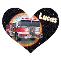 Puzzle coeur Camion de pompier personnalisé avec prénom