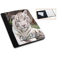 Pochette Porte bloc-notes Tigre blanc personnalisé avec prénom