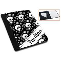 Pochette Porte bloc-notes Tête de mort personnalisé avec prénom