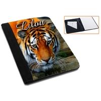 Pochette Porte bloc-notes Tigre personnalisé avec prénom