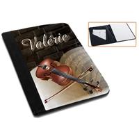 Pochette Porte bloc-notes Musique violon personnalisé avec prénom