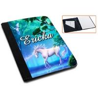Pochette Porte bloc-notes Licorne personnalisé avec prénom