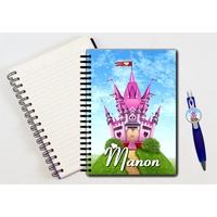 Cahier à spirales Chateau de Princesse personnalisé avec le stylo assorti