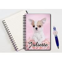 Cahier à spirales Chien chiot Chihuahua personnalisé avec le stylo assorti