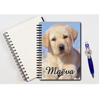 Cahier à spirales Chien chiot Labrador personnalisé avec le stylo assorti