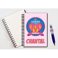 Cahier à spirales Super maman personnalisé avec le stylo assorti