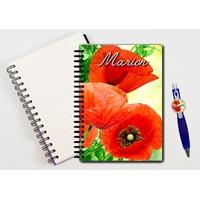 Cahier à spirales Coquelicots personnalisé avec le stylo assorti