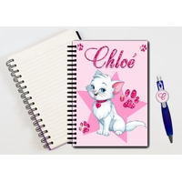 Cahier à spirales Chat de princesse personnalisé avec le stylo assorti