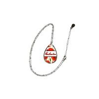 Collier pendentif ovale Coquelicots personnalisé avec prénom