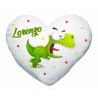 Coussin coeur Dino rigolo Dinosaure personnalisé avec prénom