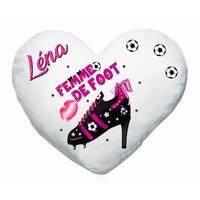 Coussin coeur Femme de foot personnalisé avec prénom