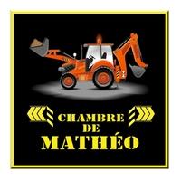 Plaque de porte Chantier Engin de contruction personnalisée avec prénom
