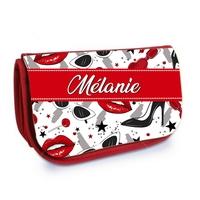 Trousse à maquillage rouge Femme Glamour personnalisée avec prénom