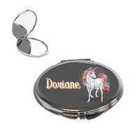 Miroir de poche Licorne personnalisé avec prénom