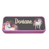 Plumier Boite à crayons Licorne personnalisé avec prénom