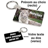 Porte-clés rectangle Tigre blanc personnalisé avec prénom et message au dos