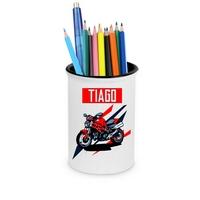 Pot à crayons Moto personnalisé avec prénom