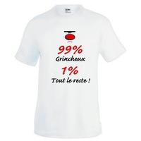 Tee shirt homme humour 99% Grincheux 1% tout le reste !