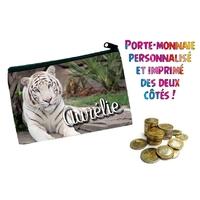 Porte monnaie Tigre blanc personnalisé avec prénom au choix