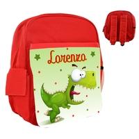 Sac à dos rose/bleu/rouge enfant Dino rigolo personnalisé avec prénom au choix
