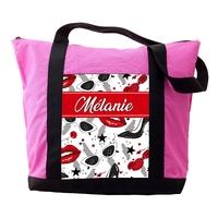 Sac cabas rose Femme Glamour personnalisé avec le prénom