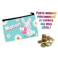 Porte monnaie Pâques fille  personnalisé avec prénom au choix