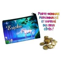 Porte monnaie Licorne personnalisé avec prénom au choix
