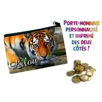 Porte monnaie Tigre personnalisé avec prénom au choix