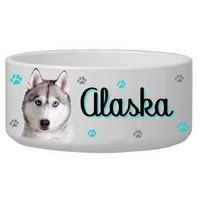 Gamelle pour chien Husky personnalisée avec le nom de votre animal