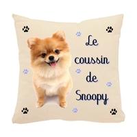 Coussin pour chien Loulou de Poméranie personnalisé avec le nom de votre animal