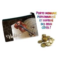 Porte monnaie Musique Violon personnalisé avec prénom au choix